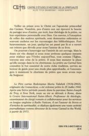 Redemptus valabek ; la prière au carmel ; aperçu historique - 4ème de couverture - Format classique