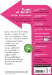 Romeo et Juliette - 4ème de couverture - Format classique