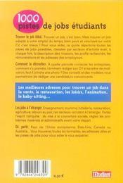 1000 pistes de jobs - 4ème de couverture - Format classique