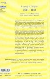 Emile zola oeuvres completes tome 14 le sanget l'argent (1889-1891) - 4ème de couverture - Format classique