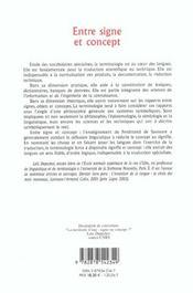 Entre Signe Et Concept. Elements De Terminologie Generale - 4ème de couverture - Format classique