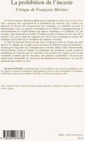 La prohibition de l'inceste ; critique de Françoise Héritier - 4ème de couverture - Format classique