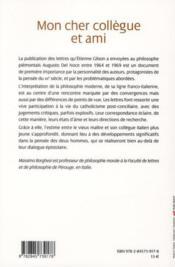 Cher collègue et ami ; lettres d'Etienne Gilson à Augusto Del Noce - 4ème de couverture - Format classique