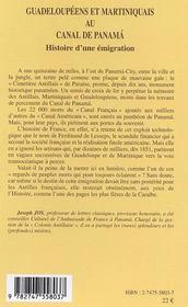 Guadeloupeens Et Martiniquais Au Canal De Panama ; Histoire D'Une Emigration - 4ème de couverture - Format classique
