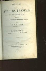 Analyses Des Auteurs Francais De La Rhetorique - Couverture - Format classique