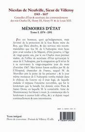 Mémoires d'Etat t.1 (1574-1591) - 4ème de couverture - Format classique