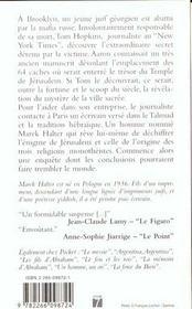 Les mysteres de jerusalem - 4ème de couverture - Format classique