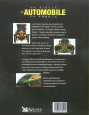 Un siecle d'automobile en france - 4ème de couverture - Format classique