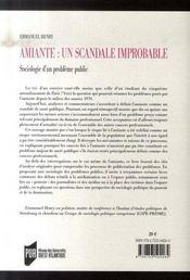 Amiante : un scandale improbable. sociologie d'un problème public - 4ème de couverture - Format classique