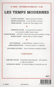 Revue Les Temps Modernes N.661 ; De Gaulle, La France Et La Littérature ; Novembre-Décembre 2010 - 4ème de couverture - Format classique