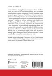 Henri Dutilleux - 4ème de couverture - Format classique