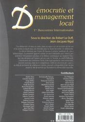 Démocratie et management local ; 1ères rencontres internationales - 4ème de couverture - Format classique