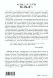 Mettre En Oeuvre Les Projets ; L'Approche Socio-Economique - 4ème de couverture - Format classique