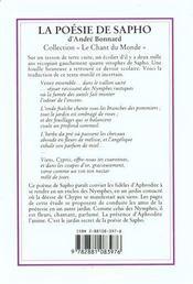 Poesie De Sapho -La - 4ème de couverture - Format classique
