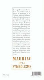 Mauriac et le symbolisme - 4ème de couverture - Format classique