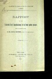 Rapport Sur Le Traite De Droit Constitutionnel Et De Droit Public General De M.Saripolos / (Plaquette). - Couverture - Format classique