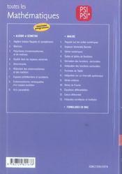 Toutes Les Mathematiques Psi Psi* Cours Exercices Corriges Nouveau Programme - 4ème de couverture - Format classique