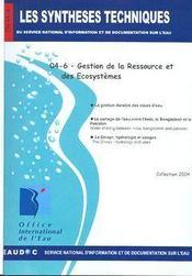 Gestion de la ressouce et des écosystèmes (les synthèses techniques du service national d'information sur d'eau) - Intérieur - Format classique