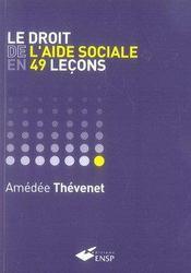 Le droit de l'aide sociale en 49 leçons - Intérieur - Format classique
