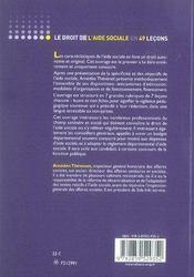 Le droit de l'aide sociale en 49 leçons - 4ème de couverture - Format classique