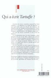Corneille Dans L'Ombre De Moliere - 4ème de couverture - Format classique