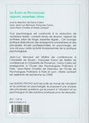 Les ecrits en psychologie rapports, expertises, bilans - 4ème de couverture - Format classique