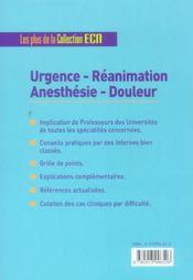 Urgence, reanimation, anesthesie, douleur - 4ème de couverture - Format classique