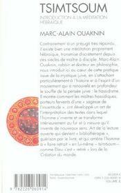 Tsimtsoum - introduction a la meditation hebraique - 4ème de couverture - Format classique