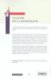 Valeurs de la démocratie ; huit notions fondamentales - 4ème de couverture - Format classique