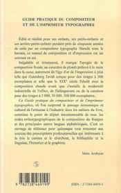 Guide Pratique Du Compositeur Et De L'Imprimeur Typographes - 4ème de couverture - Format classique