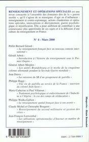 Renseignement Et Operations Speciales N.4 - 4ème de couverture - Format classique