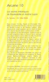 Arcane 10 ; les secrets initiatiques de Rouletabille et Arsène Lupin - 4ème de couverture - Format classique