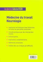Medecine Du Travail Neurologie - 4ème de couverture - Format classique