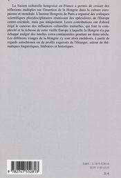 Cahiers D'Etudes Hongroises N.11 ; Visages De La Hongrie Et Métissages Culturels Européens - 4ème de couverture - Format classique