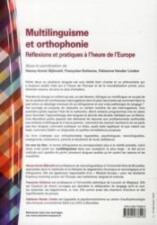 Multilinguisme et orthophonie ; réflexions et pratiques à l'heure de l'Europe - 4ème de couverture - Format classique