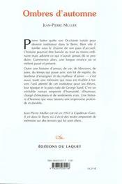 Ombres D'Automne - 4ème de couverture - Format classique