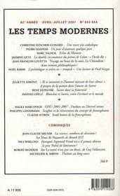 Revue Les Temps Modernes N.645 - 4ème de couverture - Format classique
