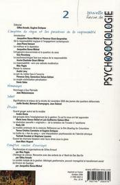Nouvelle revue de psychosociologie T.2 ; l'angoisse du risque et les paradoxes de la responsabilité - 4ème de couverture - Format classique