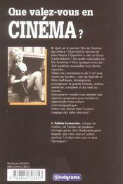 Que valez-vous en cinema ? - 4ème de couverture - Format classique