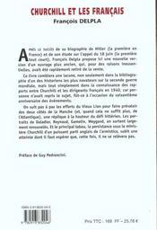 Churchill Et Les Francais ; Six Hommes Dans La Tourmente Septembre 1939 Juin 1940 - 4ème de couverture - Format classique