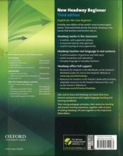 New headway; beginner ; livre de l'élève (3e édition) - 4ème de couverture - Format classique