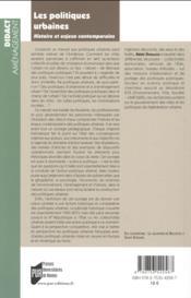 Les politiques urbaines ; histoire et enjeux contemporains - 4ème de couverture - Format classique