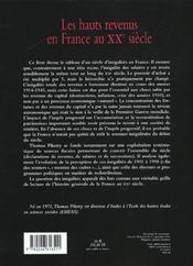 Les hauts revenus en France au XX siècle ; inégalites et redistributions, 1901-1998 - 4ème de couverture - Format classique