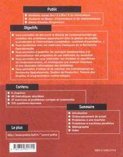 Modeles Et Algorithmes En Ordonnancement Exercices Et Problemes Corriges - 4ème de couverture - Format classique