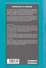 Introduction a la sociologie - 4ème de couverture - Format classique
