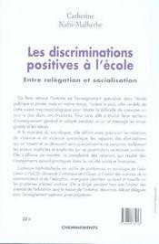 Les discriminations positives à l'école ; entre relégation et socialisation - 4ème de couverture - Format classique