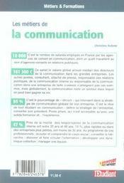 Les metiers de la communication - 4ème de couverture - Format classique