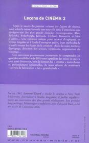 Lecons De Cinema 2 - 4ème de couverture - Format classique
