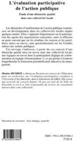 L'évaluation participative de l'action publique ; étude d'une démarche qualité dans une collectivité locale - 4ème de couverture - Format classique