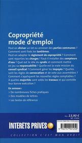 Copropriété, mode d'emploi - 4ème de couverture - Format classique